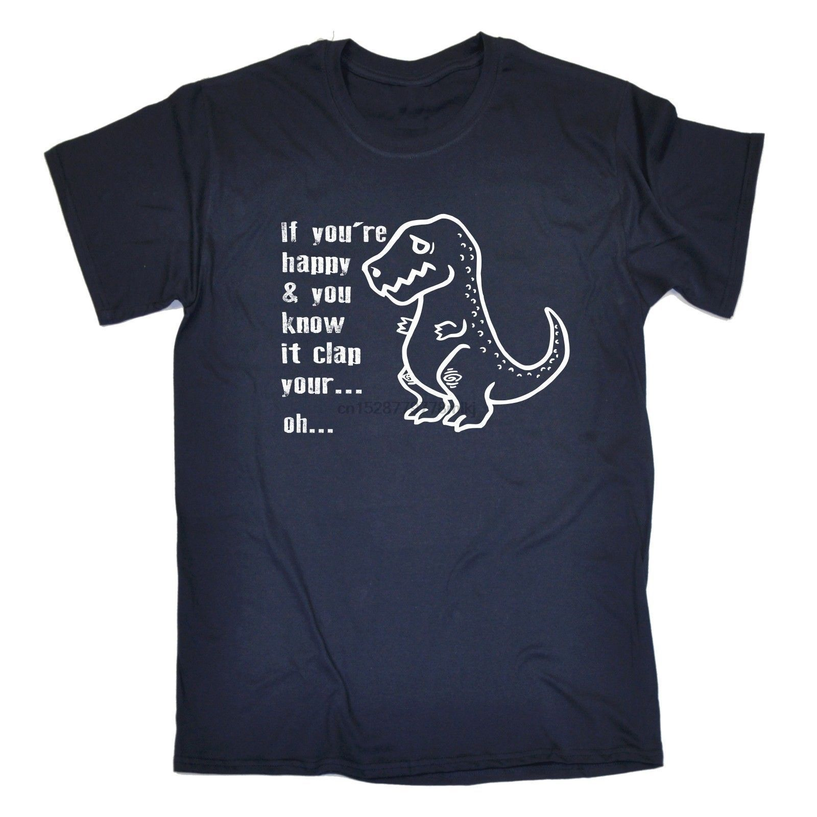 Raglan Tee T Shrit Cotton If Youre Happy Clap Your Hands Dinosaur Rex Dino Birthday S Raglan Tees Raglan Tee