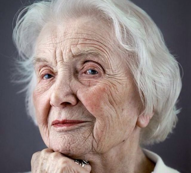 Mature woman wrinkled