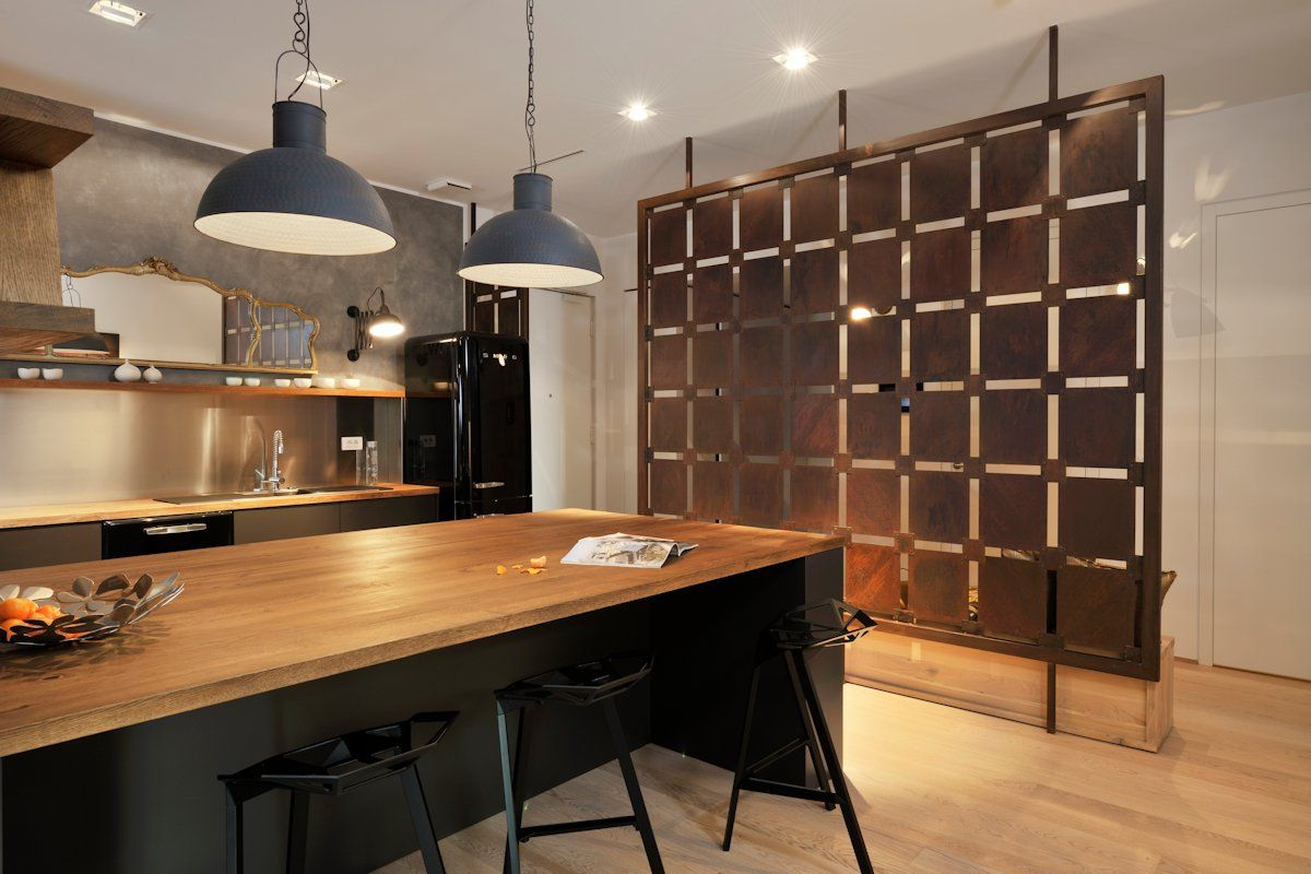 Wooden breakfast bar kitchen island apartment in ljubljana the