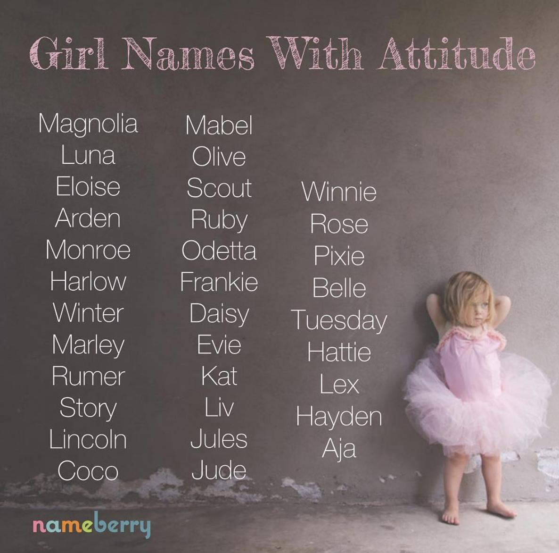 Girl Names with Attitude #babygirlnames | Cute baby names ...