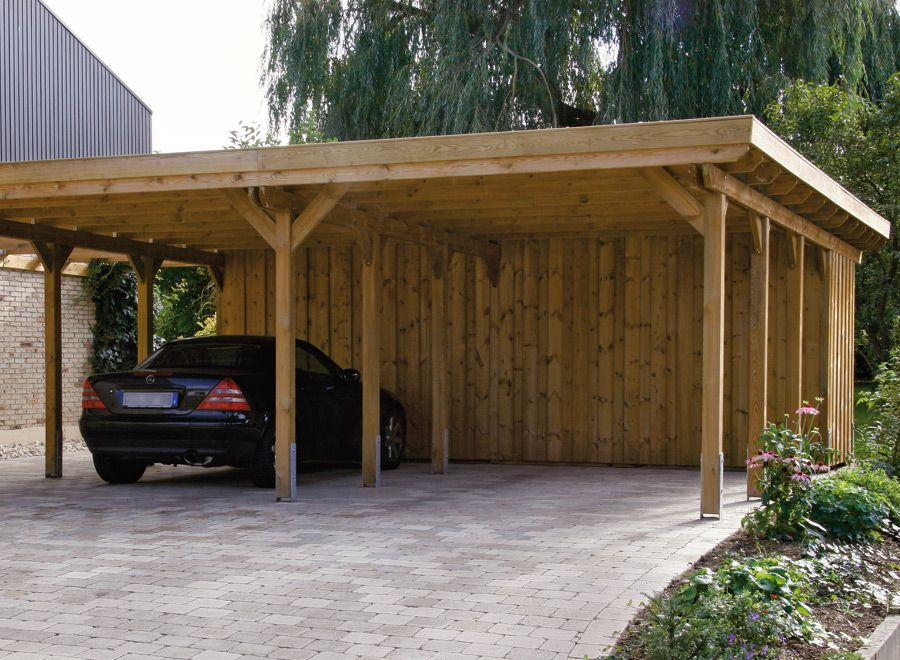 Wood carports flat roof sloping roof braun w rfele for Wooden garage plans