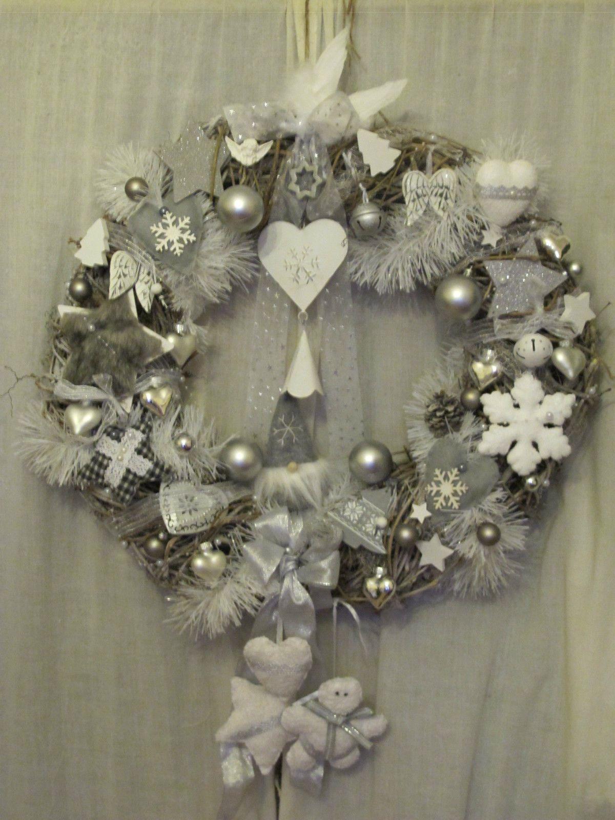 Türkranz Shabby Chic Weihnachten Weiß Grau Wichtel Handarbeit.