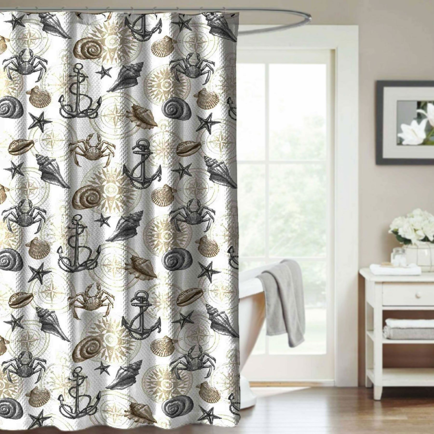 Crest Home St Croix Fabric Shower Curtain Gray And Taupe Coastal