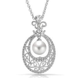 Art Nouveau Filigree Vine Pearl Pendant Necklace Bridal 18in