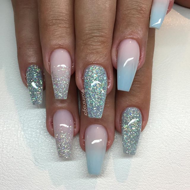 best 50 baby pink and blue ombre nails   nail art design