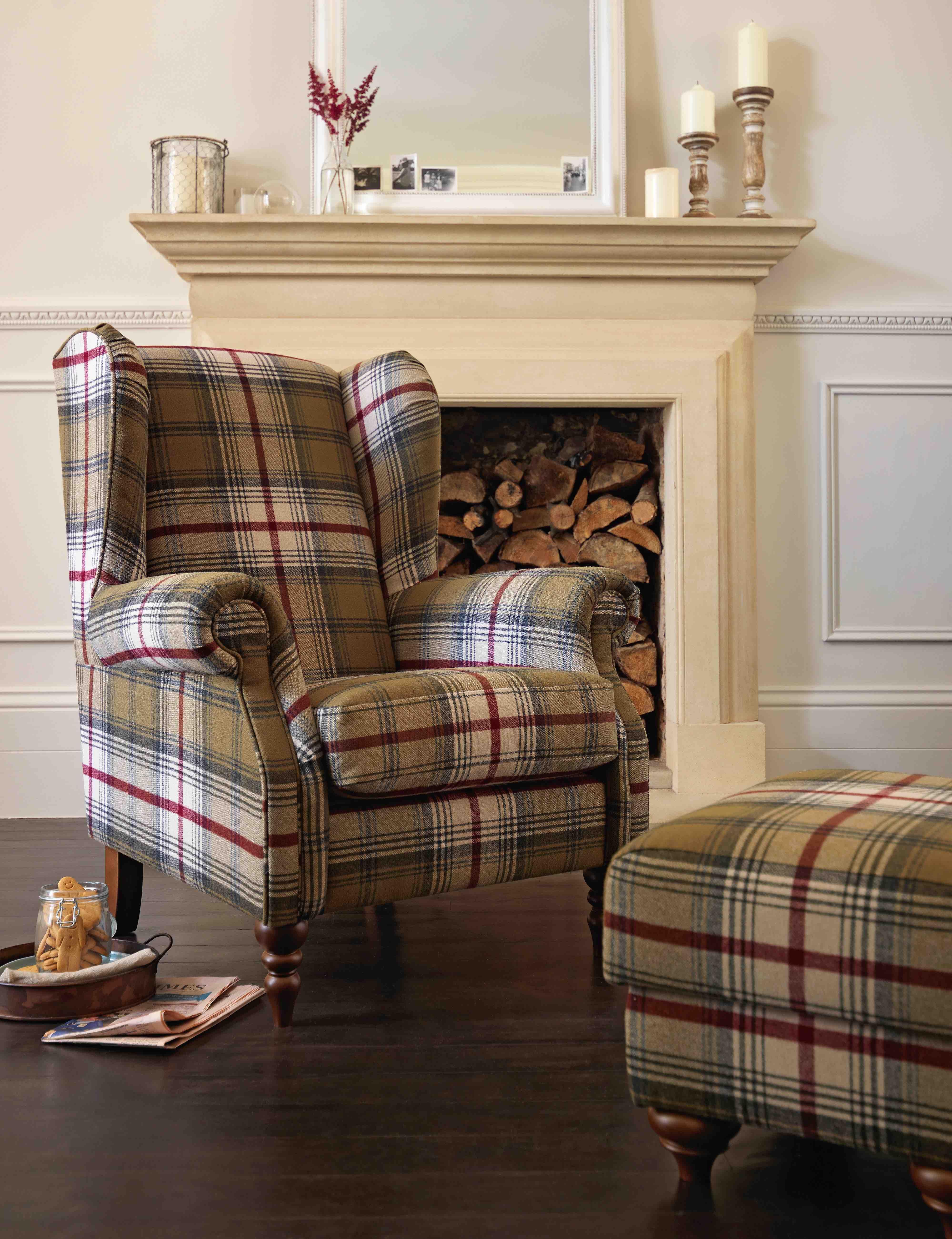 The Heart Of House Argyll Fabric Chair In Autumn Tartan