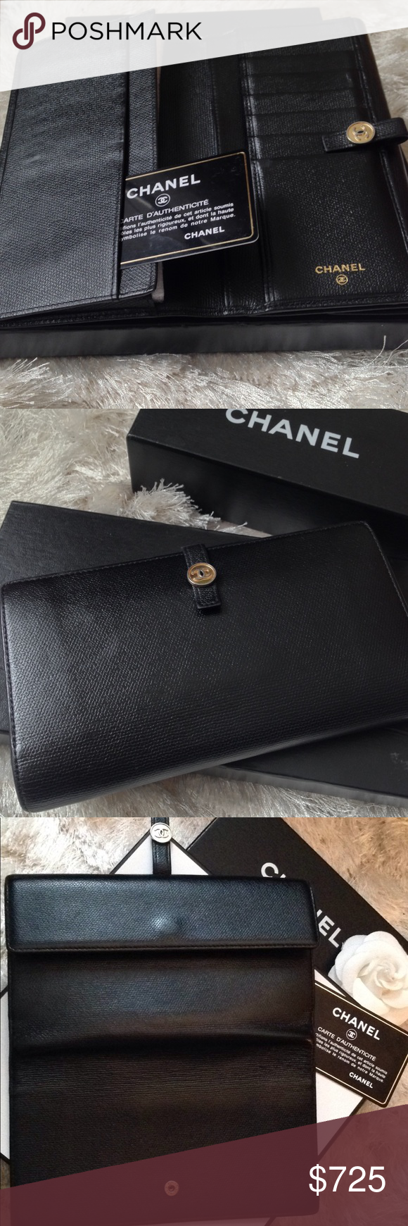 Auth Chanel Cc Logo Black Bifold Leather Wallet Authentic