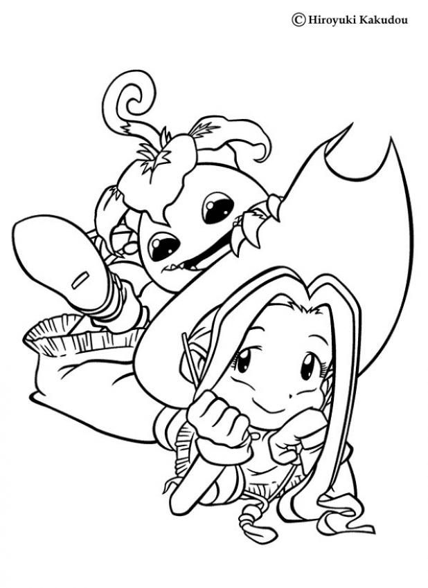 Mimi and Yokomon coloring page. More Digimon coloring sheets on ...