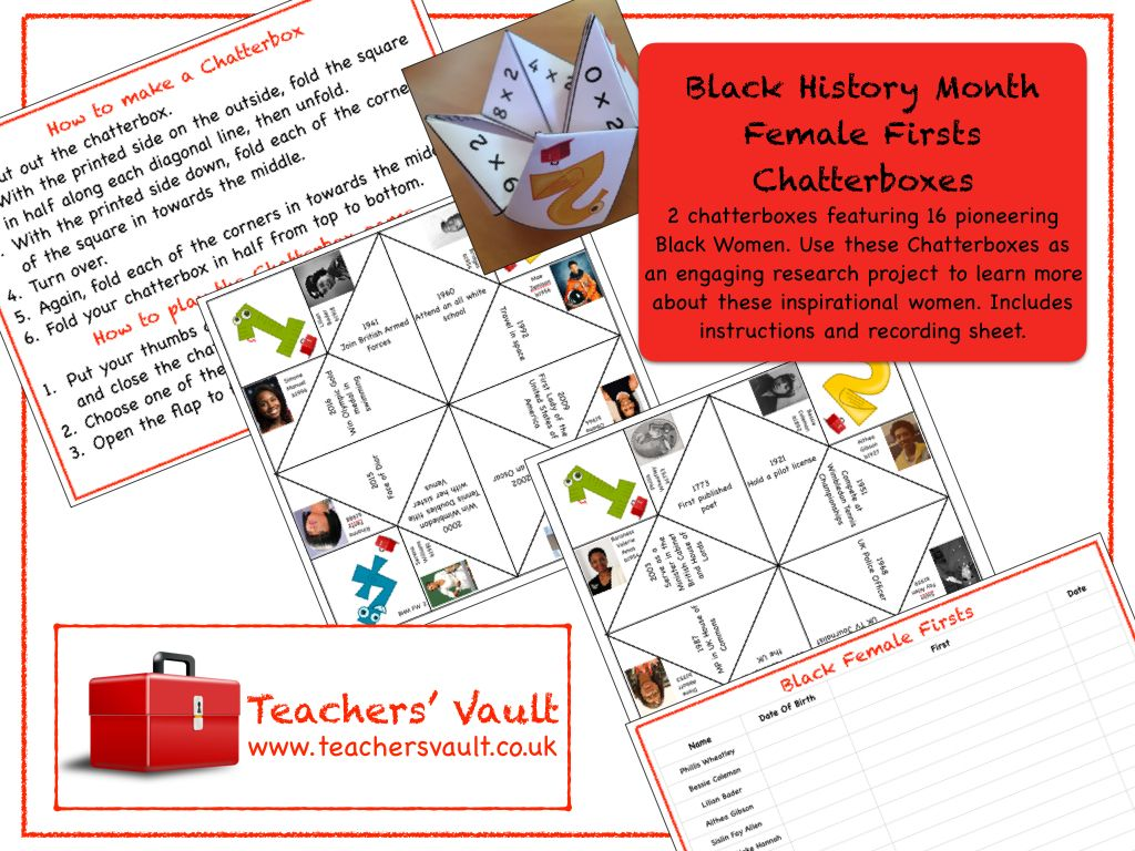 Black History Month Female Firsts Chatterboxes