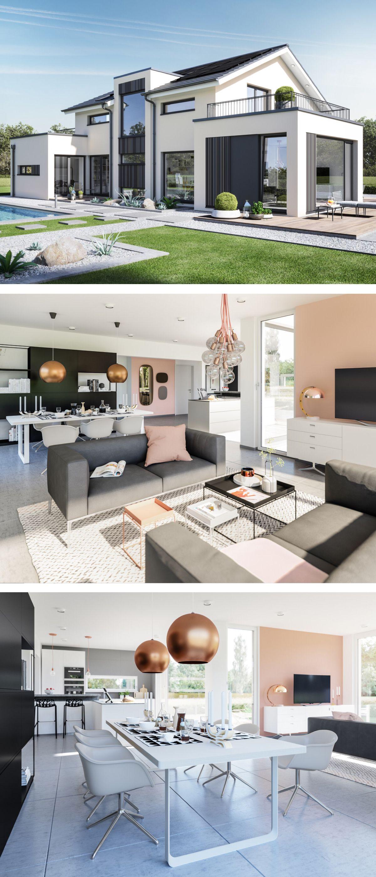 Modernes Satteldach Haus Mit Buro Anbau Galerie Einfamilienhaus