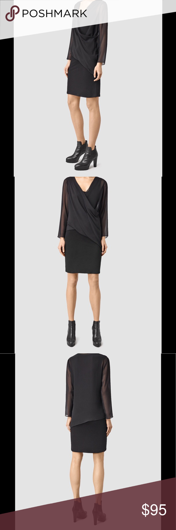 All Saints Lowe dress black US 0 2 4 6 8 AllSaints jersey and chiffon dress  Concealed zip fastenings at sides V-neck d99003130