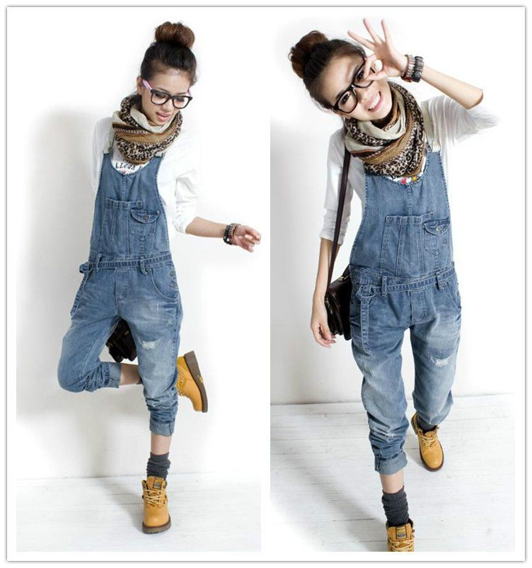 Details about Women School Girl Wash DENIM Boyfriend JEAN OVERALL ...