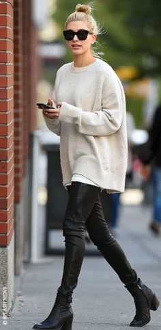 oversized sweaters, black leggings & black booties make ...
