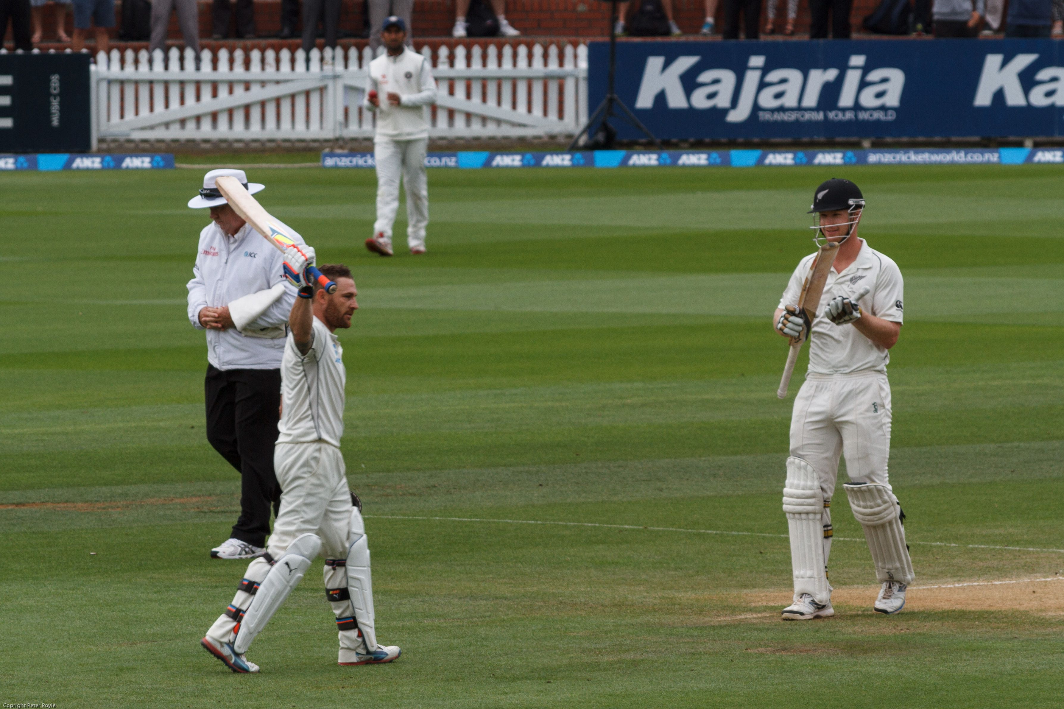 Brendan McCullum acknowledges the crowd that gathered to see him score his triple ton