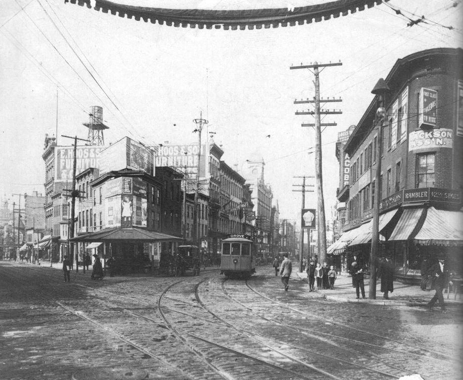 Newark Avenue And Montgomery Street With Trolley And Tracks Jersey City 1900 Jersey City City Union City