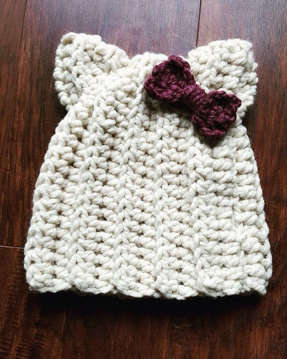 Cream and Plum Kitty Beanie with Bow // Adult // by LolaLeeDesigns
