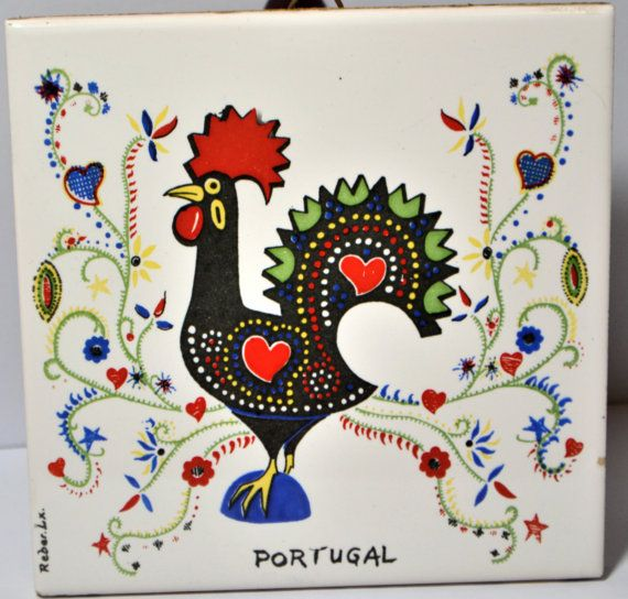 Portuguese Ceramic Tile Trivet Wall Plaque Signed By