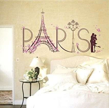 Iusun Sweet Paris Tower Wall Stickers Romance Decoration Home Decal ...