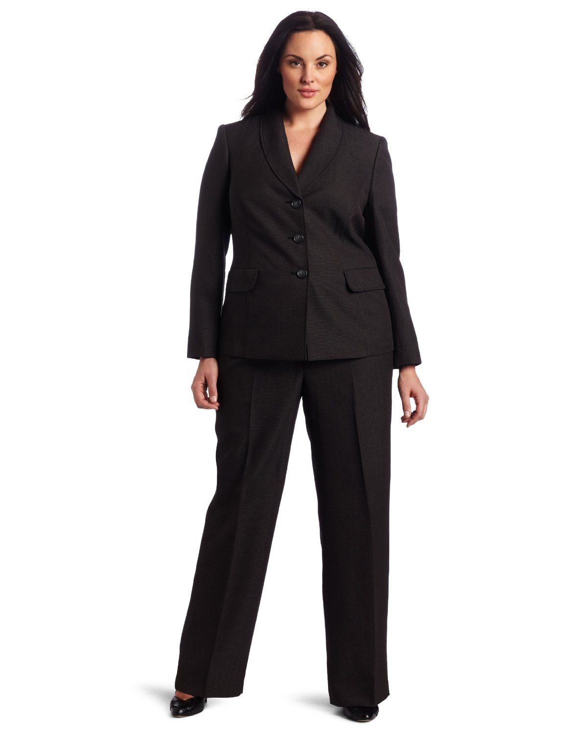 4514c1554e8 Evan Picone Womens Plus-Size Large Herringhone Pant Suit