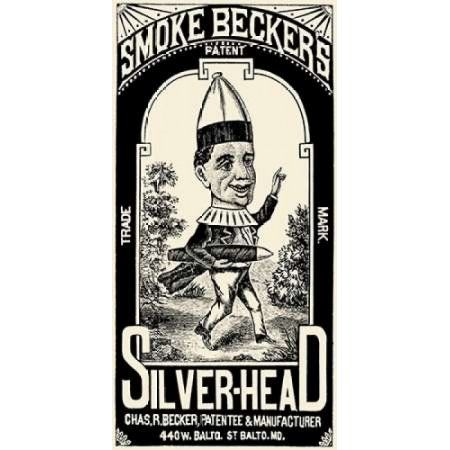 Smoke Beckers Silver-Head Canvas Art - Vintage Booze Labels (10 x 20)