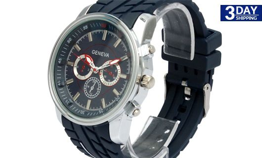 Get 49% #discount on Navy Blue Oversized Geneva Silicone Watch