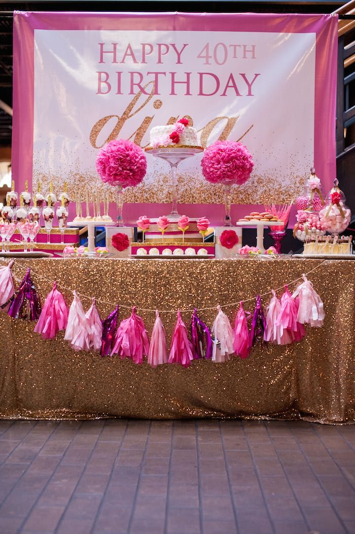 Glamorous Pink Gold 40th Birthday Party Via Karas Ideas