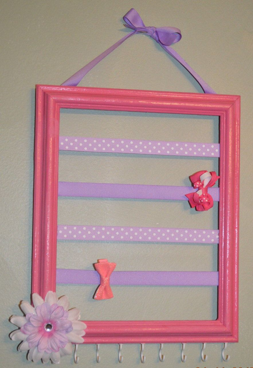 Pink & Lavender Bow and Headband Holder, Pink-Purple Hair bow holder, Jewelry Organizer, Hair bow storage, picture frame hair bow storage - pinned by pin4etsy.com