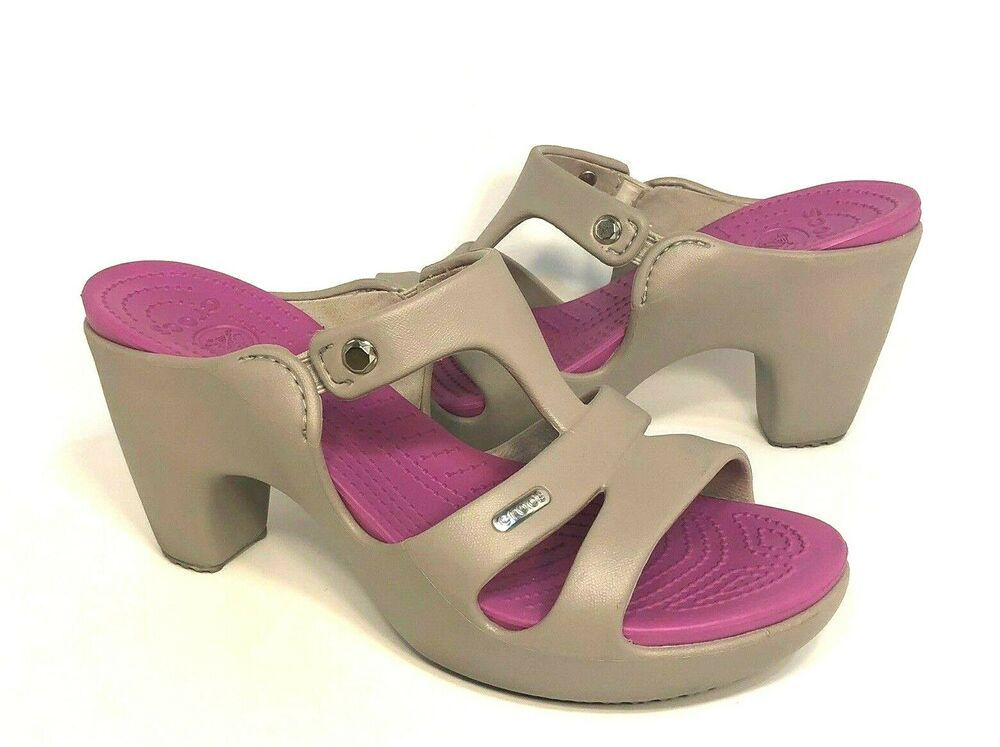 aa9e4255a9 (eBay Advertisement) Womens Crocs Cyprus V Heels Sandals Size 10  Platinum/Wild Orchid