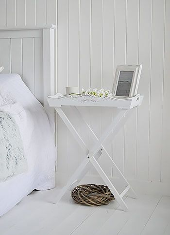 A Simple Style Of Bedside Table, White Butler Tray Table