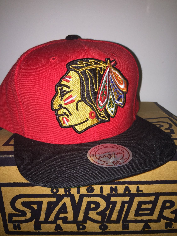 Chicago Blackhawks Xl Logo Style Mitchell And Ness Snapback Hat New Hockey  Nhl Stanley Cup Throwback Snapback Hat f10c0235bf05