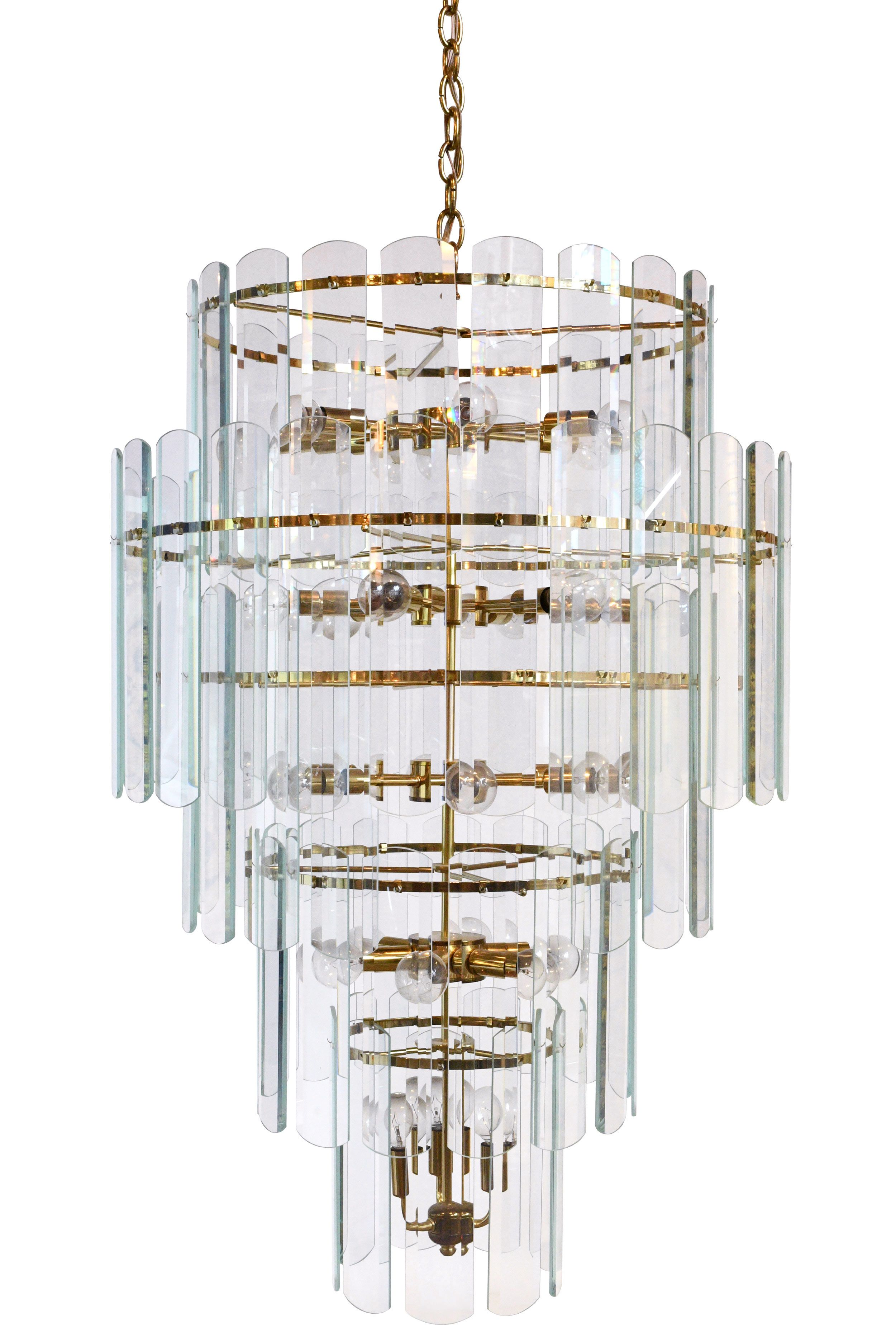 Tall 1970 S Glass And Brass Chandelier In 2020 Brass Chandelier Chandelier Glass Chandelier