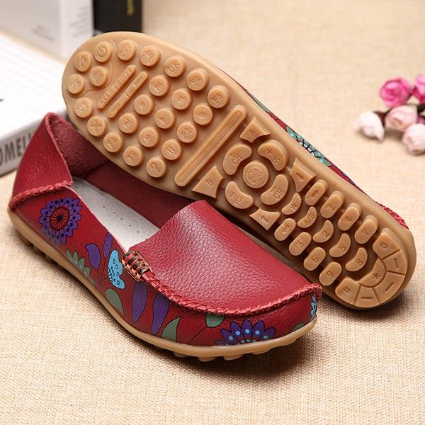 a5a541b2a1c SOCOFY US Size 5-10 Women Flat Flower Casual Outdoor Soft Slip On Leather  Loafer Shoes