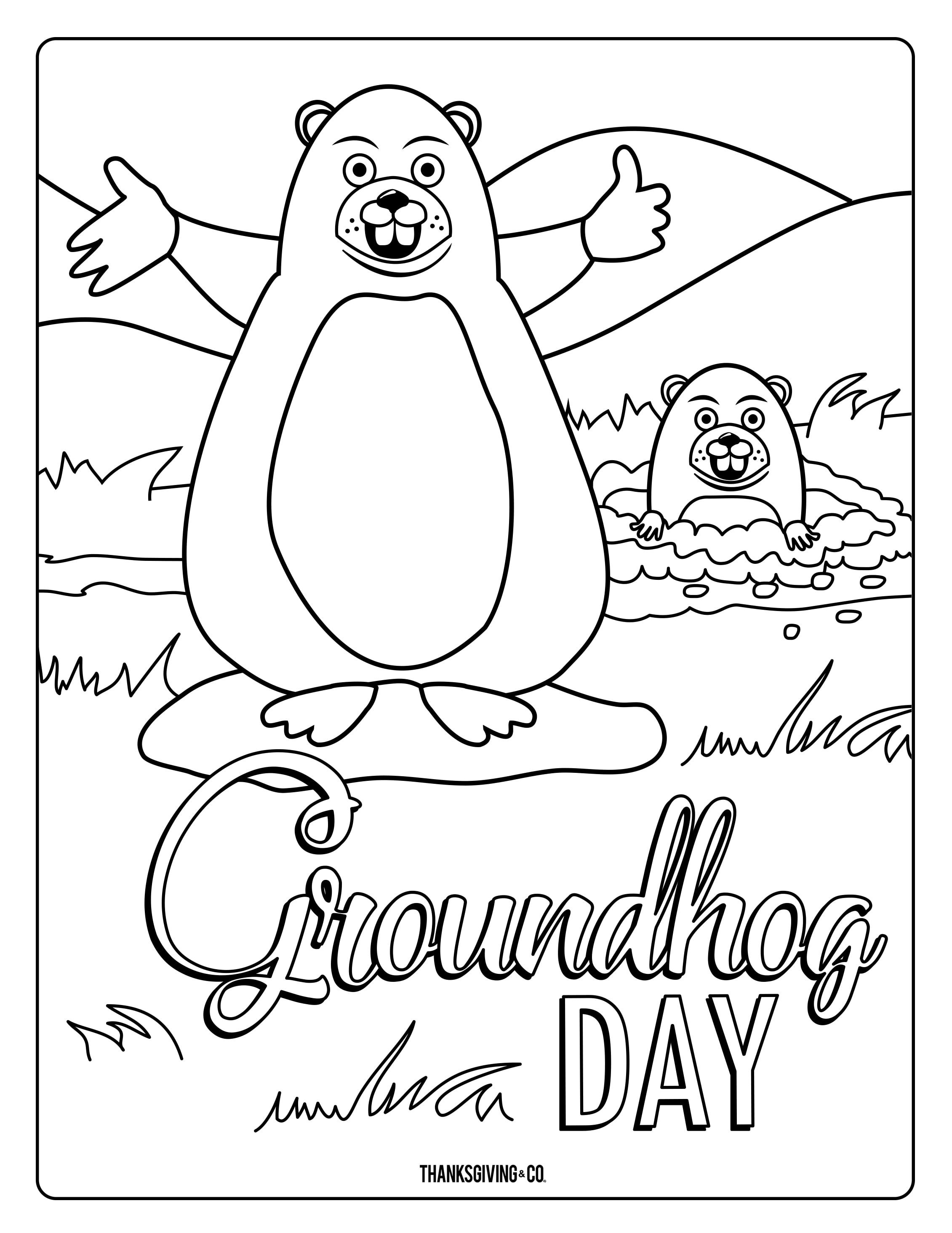 Groundhog Coloring Pages Coloring Pages For Kids Printable Coloring Pages [ 2926 x 2261 Pixel ]
