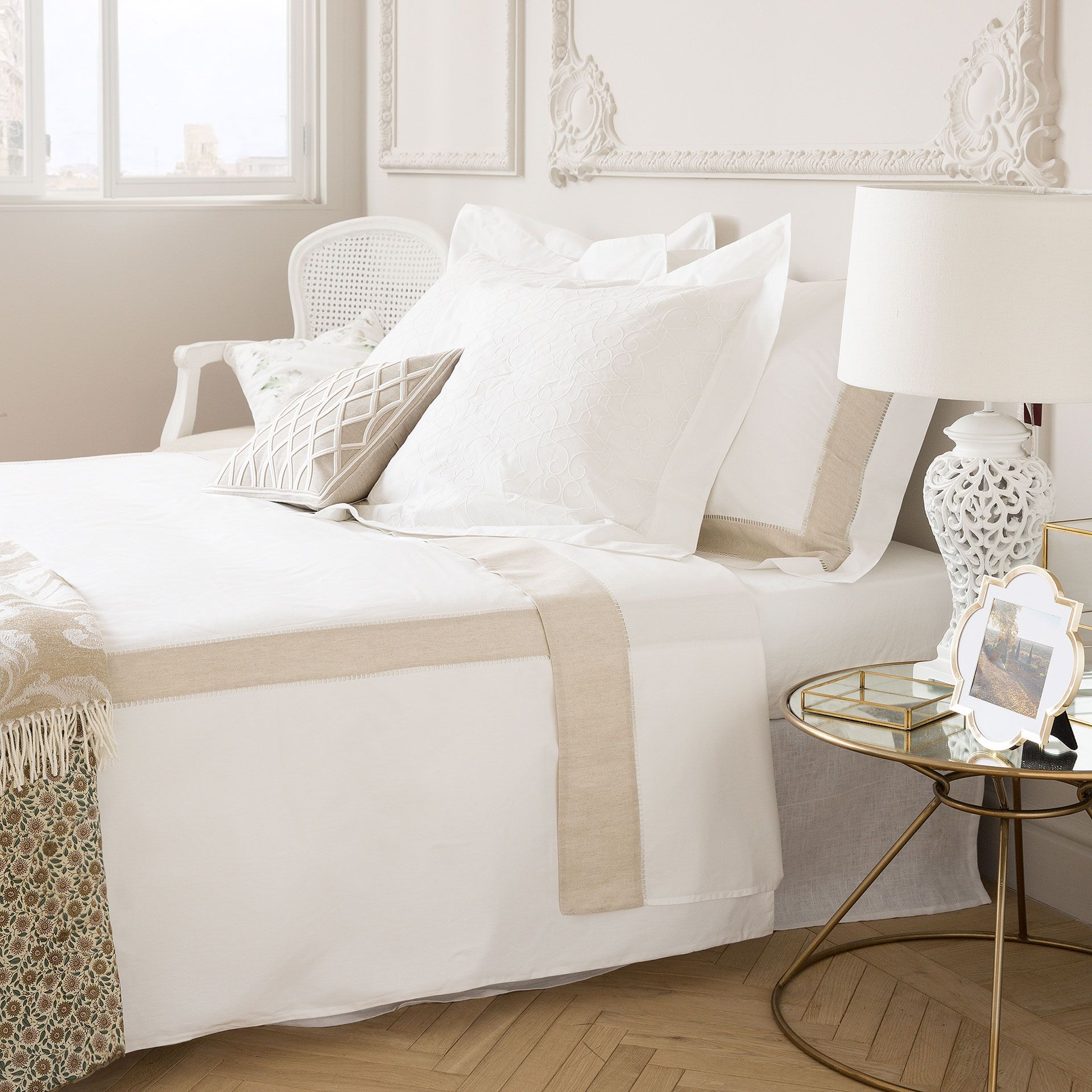 S banas y fundas contraste en lino bed pinterest for Fundas cojines zara home