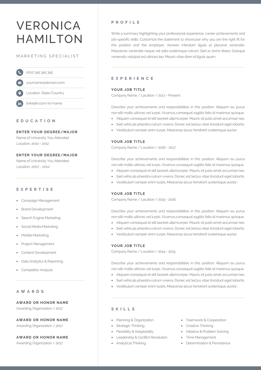 Professional Resume Template Compact 1 Page Resume