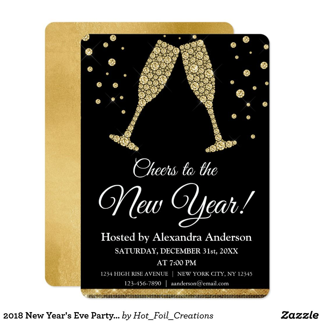 2020 New Year's Eve Party Champagne Glasses Invitation