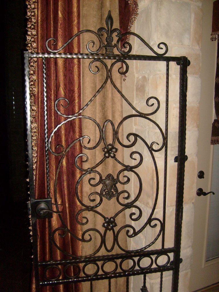 Custom Iron Door Gate With Scrolls And Fleur De Lis