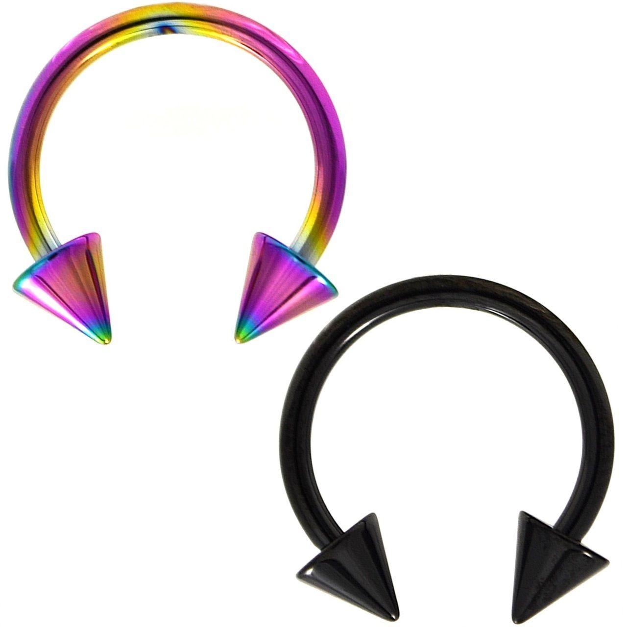 Pair Black Rainbow Spike End Horseshoe Rings Septum Piercing