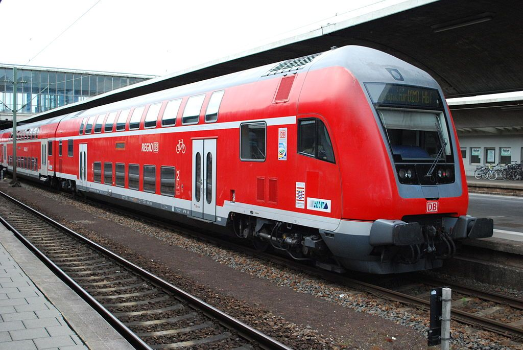 DB Regio double deck 2nd Class DT at Heidelberg Hbf on a