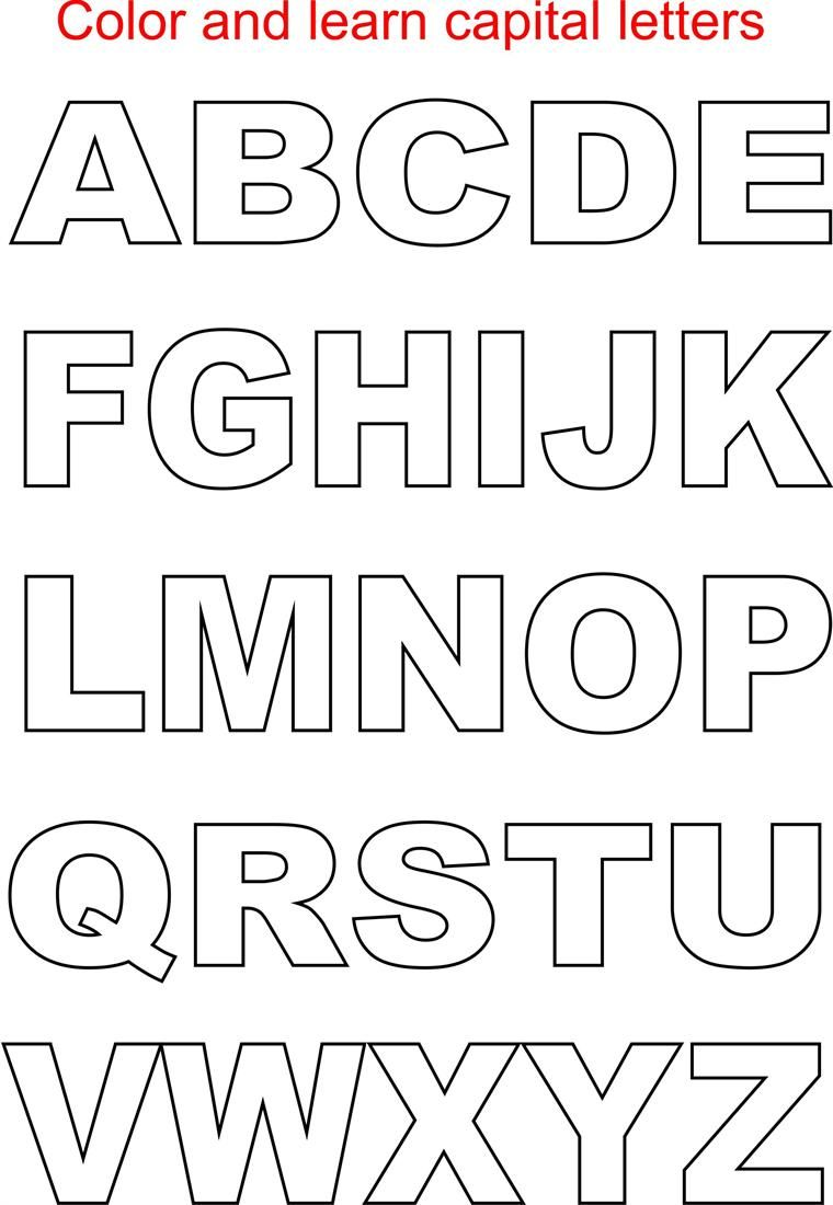 Alphabet Stencil Coloring Pages : Capital letters coloring printable page for kids