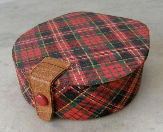 Genuine SCOTTISH TARTAN Jewelry BOX Family Plaid Leather Strap Closure