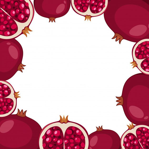 Border template with pomegranate fruit Premium Vector ...