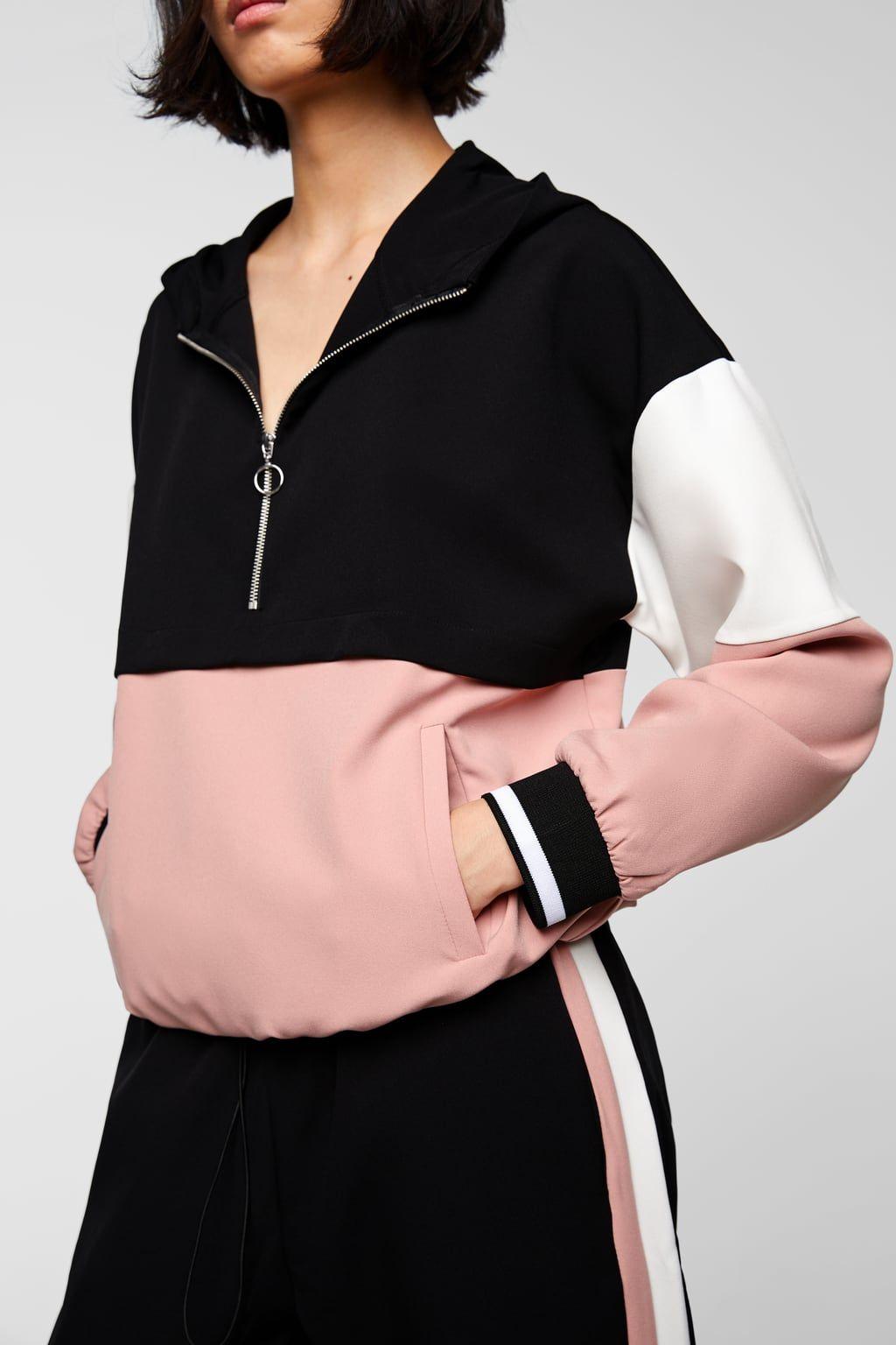 Zara Lookbook Inverno 18 Sleepwear Fashion Color Block Sweatshirt Teenage Fashion Outfits