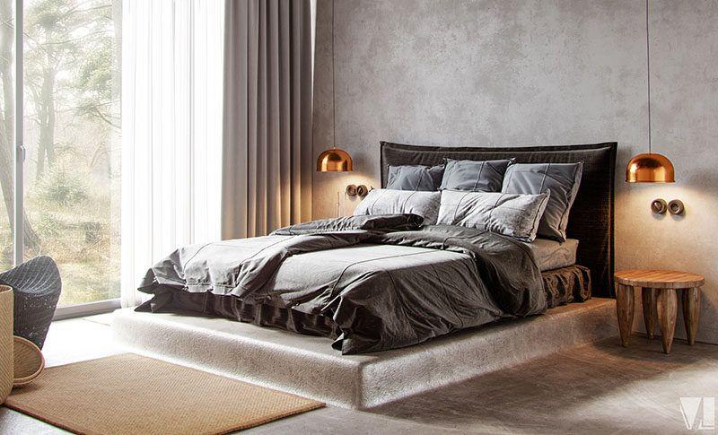 Design Idea Bed Elevated On A Concrete Platform Modern Bedroom