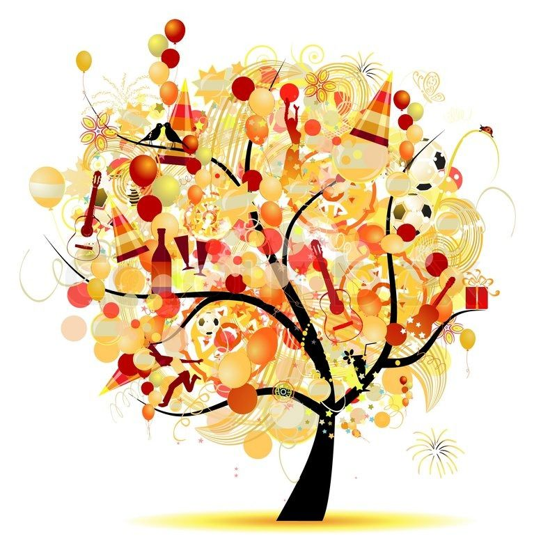 1698639 happy celebration funny tree with holiday symbolsg 800 floral tree with holiday balloons vector 06 publicscrutiny Images