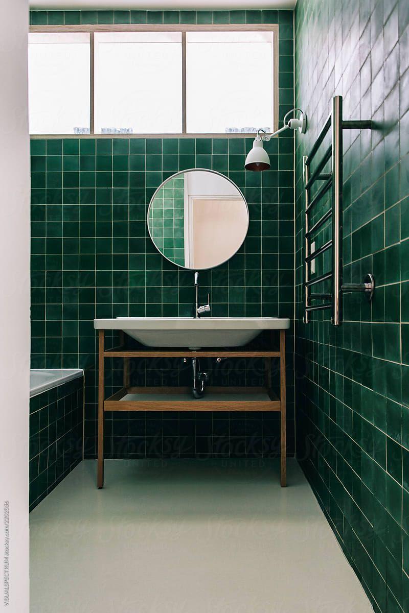 Minimalist Green Tiled Bathroom By Visualspectrum Green Bathroom Green Tile Bathroom Green Bathroom Bathroom Interior Minimalist green bathroom interior