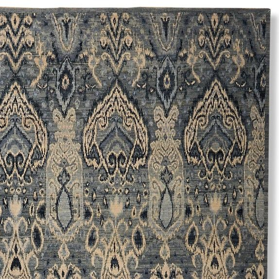 hand-knotted wool & silk ikat rug, 6' x 9', blue | rugs