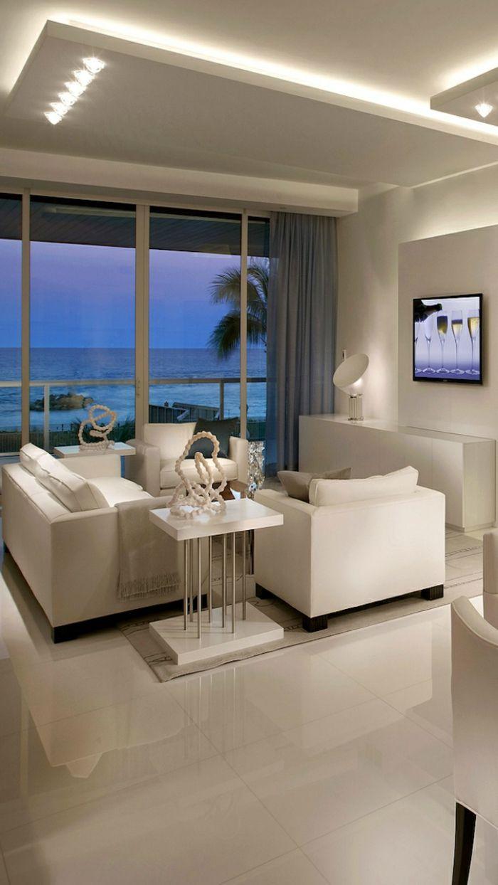Eclairage Indirect Salon Avec Meubles Beiges Living Rooms Design