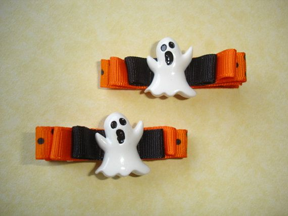 Halloween Hair Clips  ghost black orange bow by LilahRaeBOWTique