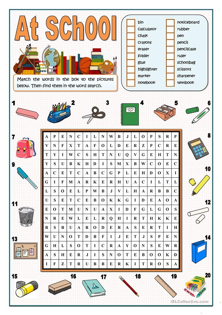 At School Wordsearch Worksheet Free Esl Printable Worksheets Made By Teachers English Lessons For Kids Learn English Learn English Vocabulary